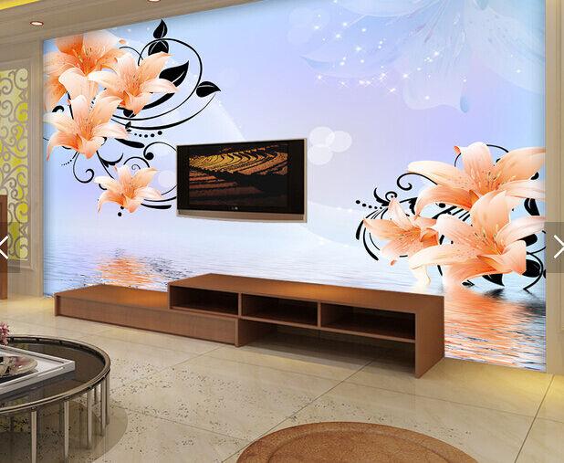 3D Orange Lilien, Wasser 255 Fototapeten Wandbild Fototapete BildTapete Familie