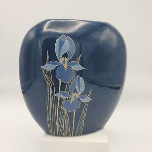 "OTAGIRI Made in Japan Ceramic Base ~ BLUE IRIS ~ 7""x7"" Dark Blue w/ Gold Accents"