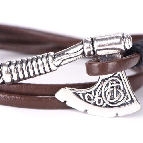 Leather Bangle Bracelet Men Pendant Viking Amulet Magic Vintage Jewelry Z0HW !