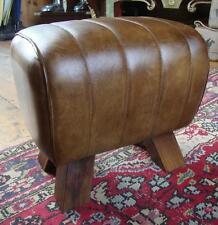 Genuine Leather Stool / Footstool / Sidestool - Pommel Horse Style Wooden Feet