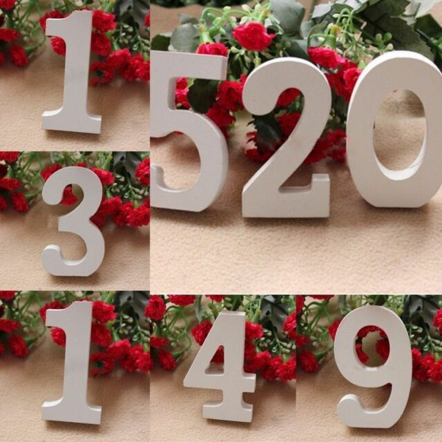 1pcs White Wooden Number 0-9 Bridal Wedding Birthday Party Home Table Decoration
