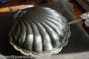 Mustard-covered-shell-dish-with-glass-insert-made-in-England