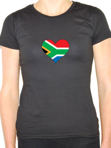 SOUTH AFRICA //SOUTH AFRICAN FLAG IN A HEART SHAPE Novelty Themed Womens T-Shirt