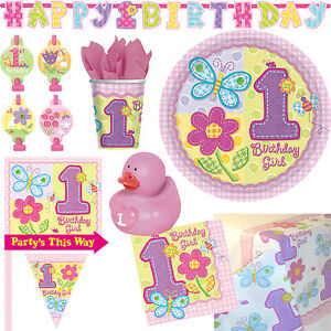 1 Geburtstag Madchen Rosa Deko Party Set Tischdeko Feier