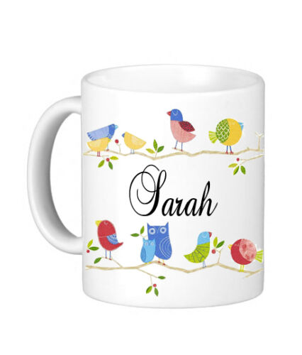 Beau Personnalisé Oiseaux Nom Mug Nounou Tante Soeur Mummy Cadeau Hibou