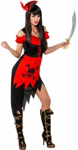 Orl Damen Kostüm Piratin rot-schwarz Karneval Fasching