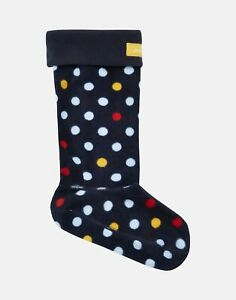 Joules Womens Welton Printed Fleece Welly Liners - NAVY ALL OVER SPOT