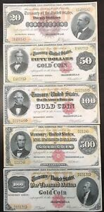 Reproduction-Set-1882-Gold-Certificates-20-1000-USA-Currency-Copies