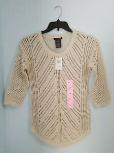 NWT-78-Chelsea-amp-Theodore-Women-039-s-Crochet-Sweater-Ivory-Color-3-4-Sleeve-Size-S