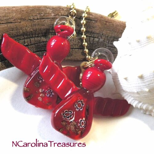 CHRISTMAS ANGEL RED HOLIDAY MURANO GLASS CEILING FAN LIGHT SWITCH PULLS PAIR