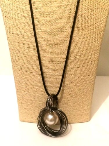 Womens Statement Long Black Fabric Necklace Faux Bead Pearl Pendant Goth