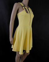 BNWT River island Front zip FIT & FLARE YELLOW SKATER Dress sizes 8 -16 HOLIDAY