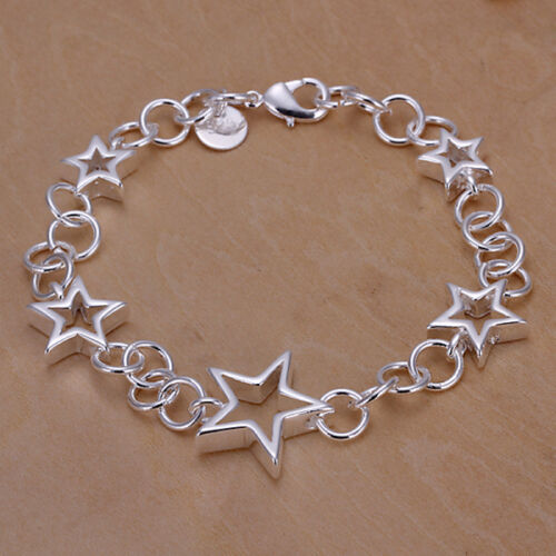 Hollow Out Five Stars Star Shape Solid Silver Plated Bracelet Chain CG