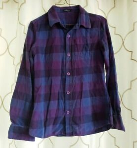 Rusty-Size-Small-Purple-Blue-Button-Down-Top-Plaid-100-Cotton-Long-Sleeve-Shirt