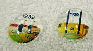 1939-New-York-World-039-s-Fair-Round-Intalgo-Glass-Discs-Set-Of-Two