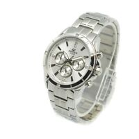 Casio Edifice EF544D-7A Mens 100M Stainless Steel Dress Watch 100M White Dial