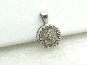 Vintage-Sterling-Diamond-Blossom-Pendant-1-35-gr-5-8-034-7-Diamonds