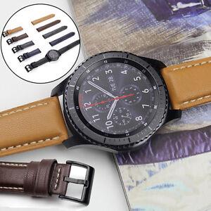 Qualitae-Luxus-PU-Leder-Uhr-Armband-5-Farben-Fuer-Samsung-Gear-S3-Frontier-Klassic
