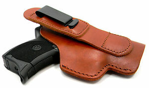 Brown-Leather-AIWB-IWB-SHIRT-TUCK-TUCKABLE-Clip-On-Holster-Choose-Your-Gun