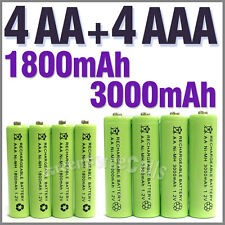 4 pcs AA 3000mAh + 4 pcs AAA 1800mAh 1.2V NiMH Rechargeable Battery Cell Green