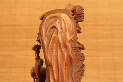 Rare Chinese old boxwood hand carved arhat Buddha pray statue figure decoration