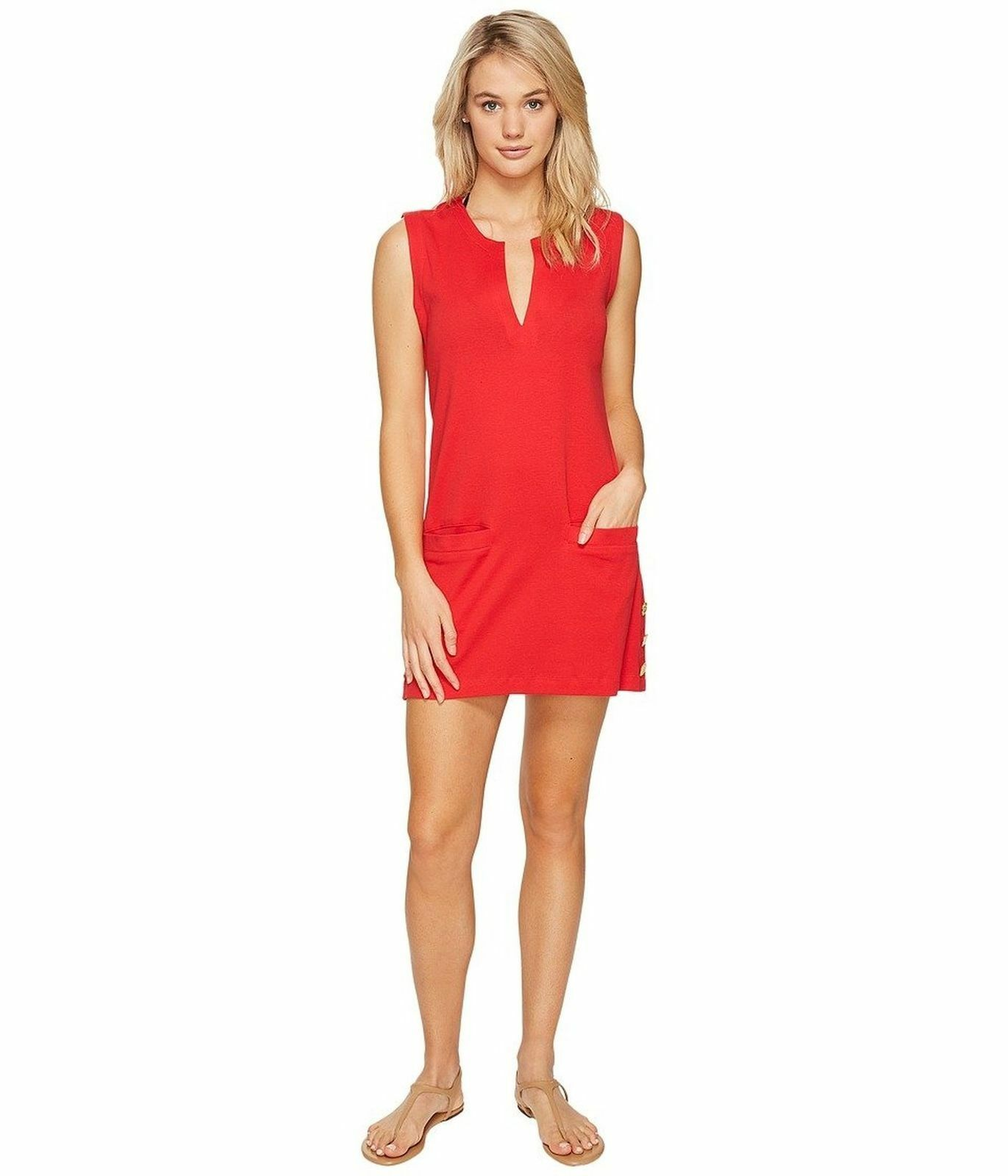 LAUREN Ralph Lauren Women's Button Tunic Cover-Up Red orange Swimsuit Top Medium