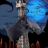 Halloween Props Rubber BLACK Bats Decor Hanging Adornment Party Home Decoration