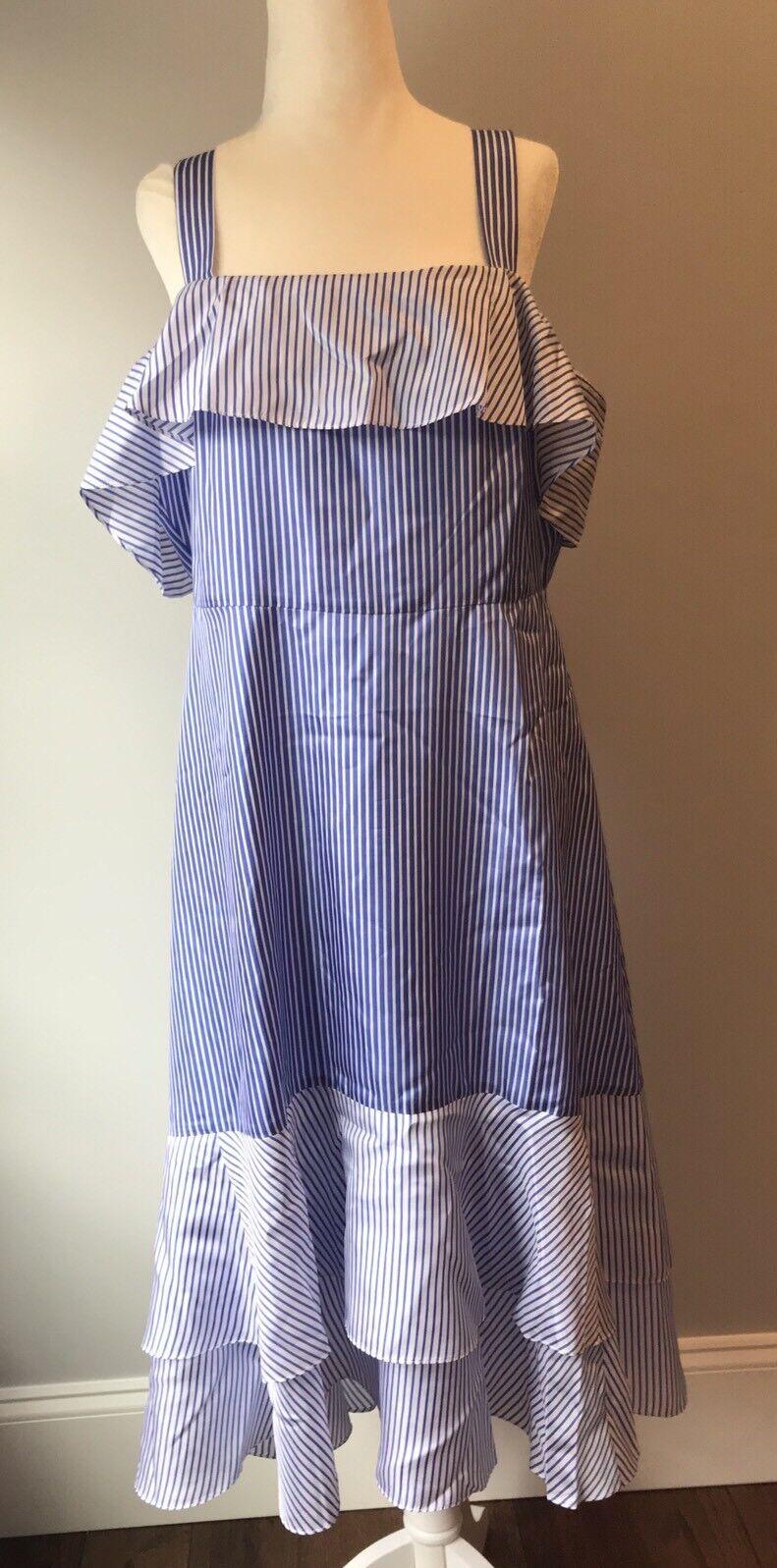 NEW J. CREW STRIPED COL-SHOULDER SILK DRESS IN blueE SZ 14  188 G6263