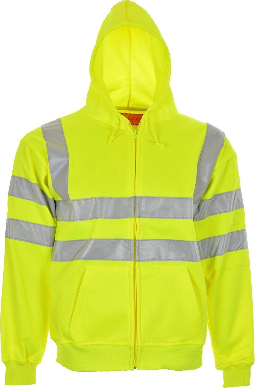 Hi Vis High Visibility Sweatshirt Jumper Hooded Fleece Workwear Hoodie S-3XL