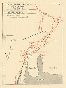 Battle Of Cape Spada 19th July 1940 Crete Sketch Map World War 2