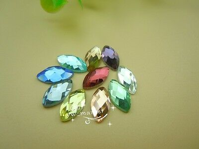 100 PCS 5mm X 10mm Navette Glass Faceted Glass Flat Back Jewels