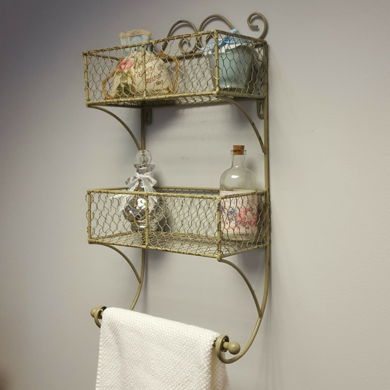 Shabby Chic Metal Wall Basket Shelf Storage Bathroom