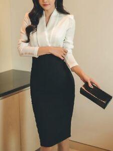Elegante vestito abito bianco nero tubino slim maniche lunghe   slim 3886