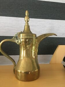 Antique Large Heavy Brass Middle Eastern Arabic Marked Dallah Tea / Coffee Pot