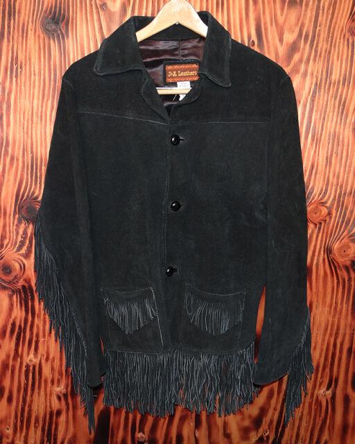 Vintage Fringed Jacket Black Suede Fringe Size 40