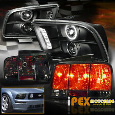 Halo Projector Black Headlights + Sequential Smoke Tail Light For 05-09 Mustang