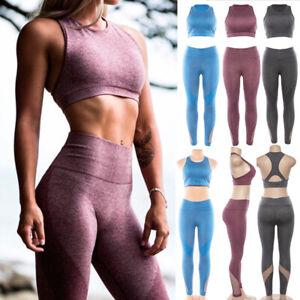 Damen-Fitness-Yoga-Gym-Set-Sportbekleidung-Bra-Leggings-Pants-Workout-Running
