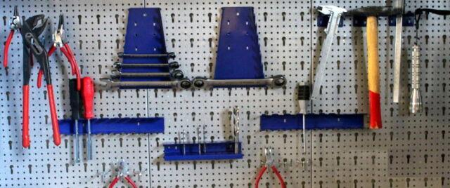 Lochwand 3 teilig 1,20m mit Hakenset Halter Werkstatt Werkzeughalter blau grau N