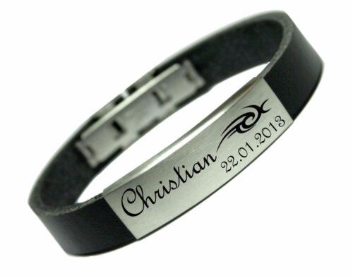 ID Leder Armband mit Edelstahlplatte inkl Gravur nach Ihrem Wunsch in 12 Farben