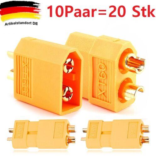20 Stück XT60 Hochstrom Stecker Buchse Connector Adapter Akku Nylon ESC Lipo 60A
