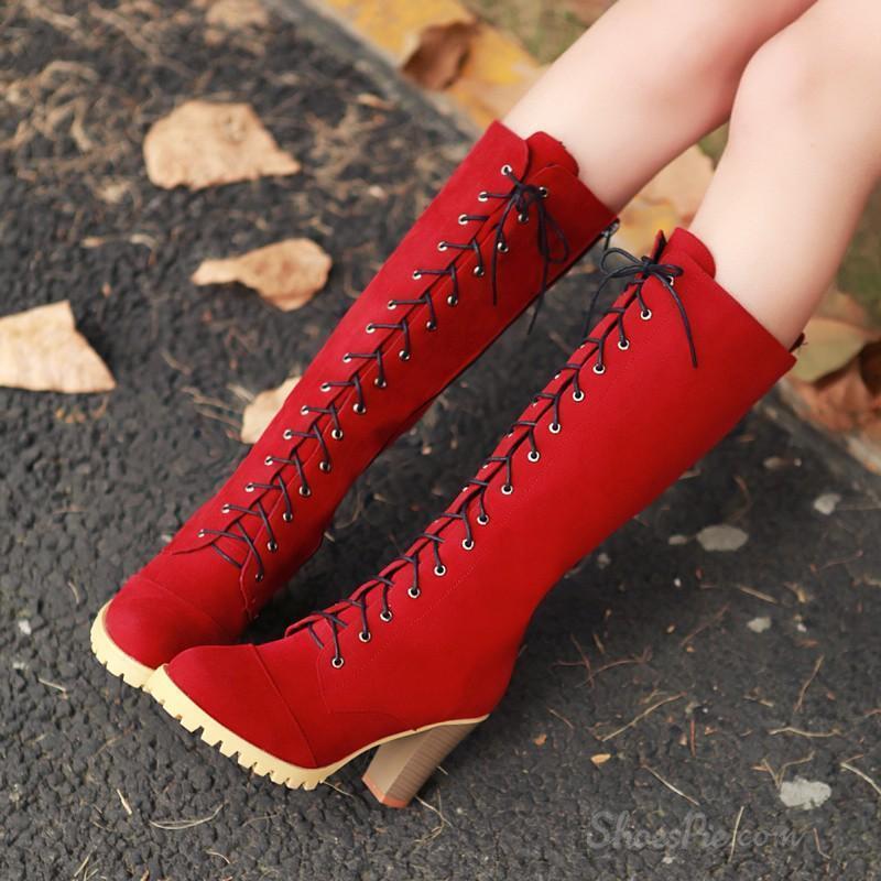 Bottes Chaussures Talon 8 Lacets Rouge Cuir Synthetique Confortable Chaud 9155