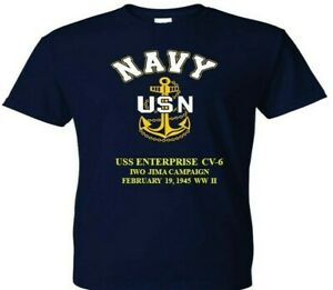 USS-ENTERPRISE-CV-6-IWO-JIMA-1945-WW-II-VINYL-amp-SILKSCREEN-NAVY-ANCHOR-SHIRT