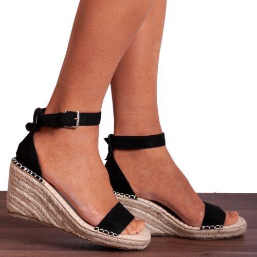 Espadrilles coincé plateformes TALONS COMPENSES TOILE Bride Cheville Sandales Chaussures Taille