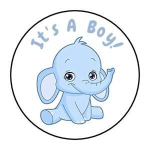30-Baby-Elephant-it-039-s-a-boy-shower-stickers-favors-bag-lollipop-labels-blue