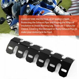 Aluminum-Motorcycle-Exhaust-Muffler-Pipe-Protector-Heat-Shield-Cover-Black-R