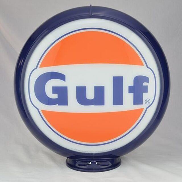 Gulf Gasoline Gas Pump Globe Sign Orange Black Glass Lense Filling Station Decor