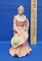 Vintage Ceramic Porcelain Homco Home Interior Woman Lady Figurine Sitting w/ Hat