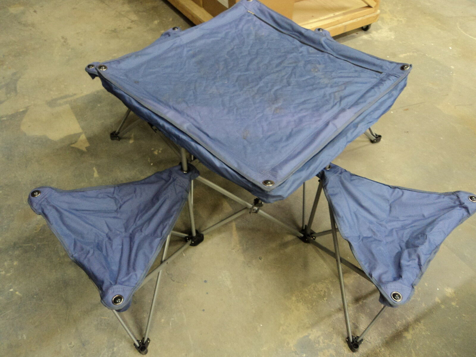 Northpole Fold Out Camping Table 4  Chairs 50in L x 50in W x 24in H Purple  80% off