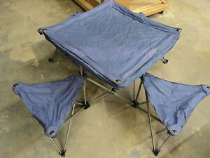 Northpole Fold Out Camping Table 4 Chairs 50in L X 50in W X 24in H Purple EBay