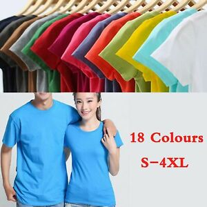 Mens-Casual-Top-Solid-Color-Short-Sleeve-T-shirt-Crew-Neck-Tee-Basic-Gym-Cotton
